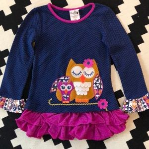 Rate Editions long sleeve owl shirt - girls size 7